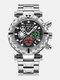 Multifunctional Men Business Watch Luminous Chronograph Calendar Quartz Watch - Silver Case Black Dial