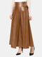 Solid Color Leather Zipper Long Casual Skirt for Women - Brown