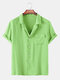 Men Candy Color Solid Printed Beach Holiday Casual Shirt - Green