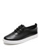 Women Soft Pu Leather Lace Up White Flat Sneakers - Black