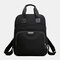 Women Casual USB Charging Multifunction Solid School Bag Backpack - Black