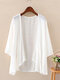 Solid Color 3/4  Sleeves Casual Thin Cardigan For Women - White