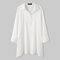 Solid Color Slit Button Loose Long Sleeve Casual Blouse for Women - White