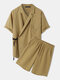 Mens Casual Wrap Tie Side Top Solid 100% Cotton Two Pieces Outfits - Yellow