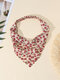 Women Country Style Floral Rose Pattern Elastic Triangle Wrap Headscarf Headband - Pink+White