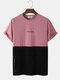 Mens Citry Letter Print Two Tone Patchwork Short Sleeve T-Shirt - Pink