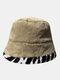 महिलाओं और पुरुषों के आलीशान गर्म Soft धारीदार पैटर्न आकस्मिक व्यक्तित्व बाल्टी टोपी - हाकी