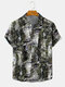 Mens Holiday Tropical Leaf Printed Light Casual Short Sleeve Shirts With Pocket - #01