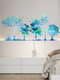 Color Gradient Foldable Forest Tree Pattern Self-adhesive Home Decor Living Room Bedroom Wall Art Wall Stickers - Blue