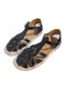 Large Size Women Comfy Solid Woven Ribbon Fisherman Sandals - Black