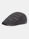 पुरुषों धारीदार पैटर्न ठोस रंग आकस्मिक फैशन Sunvisor फ्लैट टोपी आगे टोपी टोपी टोपी - काली