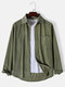 Mens Corduroy Solid Button Up Basics Long Sleeve Shirts With Pocket - Green