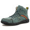 Menico Men Hand Stitching Leather Ankle Boots - Green