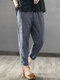 Vintage Striped Pockets Cotton Harem Pants - Navy