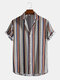 Mens Ethnic Style Geometry Print Lapel Short Sleeve Button Up Shirt - Coffee