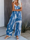 Spaghetti Straps Blooming Printed Striped Jumpsuit For Women - Blue