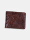 Men Genuine Leather Cow Leather Old Vintage Business Money Clips Coin Wallet - Coffee