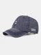 Men Washed Cotton Letter Pattern Baseball Cap Outdoor Sunshade Adjustable Hat - Navy