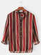 Mens Stripe High Low Hem Casual Loose Fit Long Sleeve Henley Shirts - Red