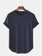 Mens Solid Color Breathable & Thin Loose Casual O-Neck T-Shirts - Navy Blue