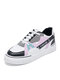 Womens Fashion Color Block Skate Shoes Comfy Lace-up Casual Sneakers - Black