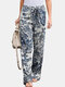 Vintage Printed Elastic Waist Straight-Legged Pants For Women - White