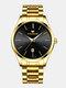 Business Luminous Needle with Calendar Date Display Steel Strap Waterproof Men Quartz Watch - Gold+Black