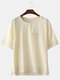 Mens Birds Printed Chinese Style Chest Pocket  Loose Short Sleeve T-Shirts - Beige