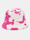 Women & Men Wool Soft Warm Casual All-match Cute Cow Pattern Bucket Hat - Red