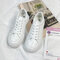 Women Comfy White Shoes Lace Up Front Flat Court Sneakers - White