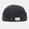 Men & Women Knitted Hat Autumn And Winter Woolen Melon Leather Hat Warm Men And Women Hats Skull Caps - Dark Gray