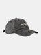 ユニセックスウォッシュドコットンソリッドカラースネークパターンプリントオールマッチファッションベースボールキャップ - グレー