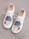 Women Embroidered Flowers Lace Mesh Joint Stitching Cloth Cmofy Casual Flats - White