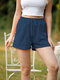 Solid Color Drawstring Waist Casual Running Shorts With Pocket - Navy