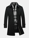 Black Business Casual Woolen Jackets Mid Long Trench Coats for Men
