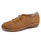 LOSTISY Casual Suede Elastic Band Flat Shoes for Women - Brown