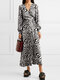 Tiger Print Knotted V-neck Casual Dress for Women - White