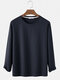 Mens Basic Solid Color Loose Casual Breathable Round Neck Sweatshirts - Navy