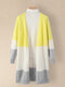 Women Contrast Color Patchwork Loose Knitted Casual Cardigan - Yellow