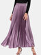 Solid Color Elastic Waist Long Pleated Skirt For Women - Purple