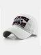 पुरुष कढ़ाई मछली और पत्र पैटर्न बेसबॉल कैप आउटडोर सनशेड समायोज्य टोपी - सफेद