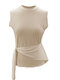 Solid Color Sleeveless O-neck Casual Tops For Women - Khaki