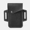 Men EDC Genuine Leather 5.5 Inch Phone Holder Waist Belt Bag - Black