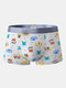 Mens Breathable Sexy Cartoon Print Underwear With Mesh Pouch Boxer Briefs - Light Grey