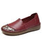 SOCOFY Floral Printed Round Toe Comfy Cowhide Soft Sole Casual Flat Loafers - Purple Red