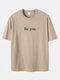 プラスサイズメンズBeYouスローガンプリント綿100%カジュアル半袖Tシャツ - カーキ