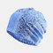 Women's Ethnic Cotton Beanie Vintage Elastic Hat Breathable Turban Cap - Light Blue