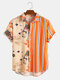 Men Landscape Painting Striped Patchwork Holiday Curved Hem Shirt - Orange