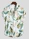 Masculino Classical Óleo Imprimir Folha camisas de manga curta com gola virada para baixo - Branco