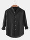 Pluz Size Mens 100% Cotton Solid Color Casual Long Sleeve Shirt With Pocket - Black